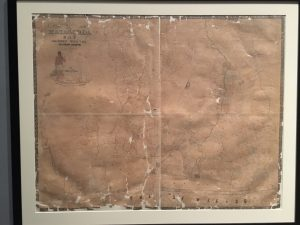 Map of Matagorda Bay and surrounding area from the Texas General Land Office, drafted by James H. Selkirk. Currently on display at the Bullock Texas State History Museum. Photo taken September 2016.