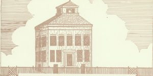 Drawing of the original mid-nineteenth-century Matagorda County Courthouse.