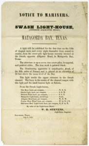 Printed notice announcing the installation of a lighthouse for Matagorda Bay near Saluria, Texas. Dated July 8, 1858. Broadside Collection, Dolph Briscoe Center for American History.